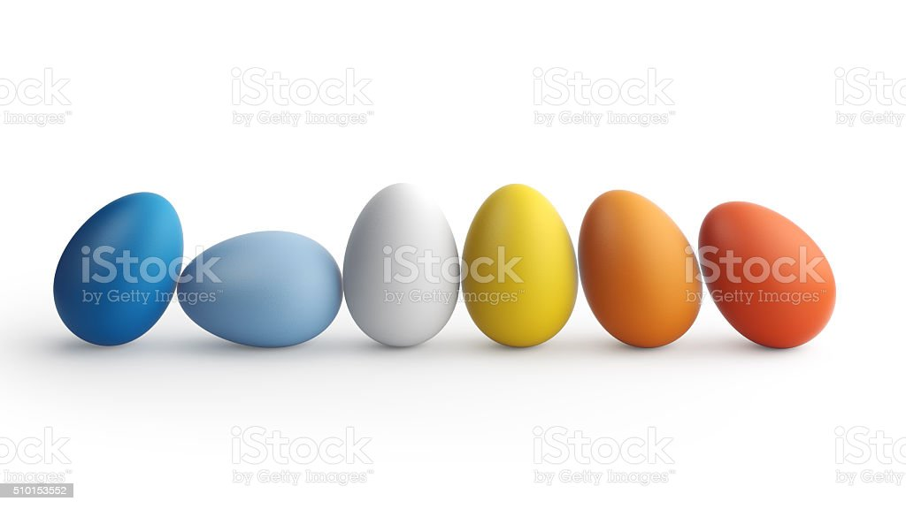 High quality 3D render of easter eggs stock photo