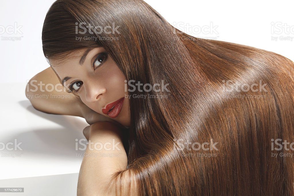 High quality image. Woman with smooth hair stock photo