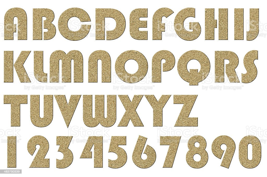 High quality   of letter uppercase alphabets  Cork board style stock photo