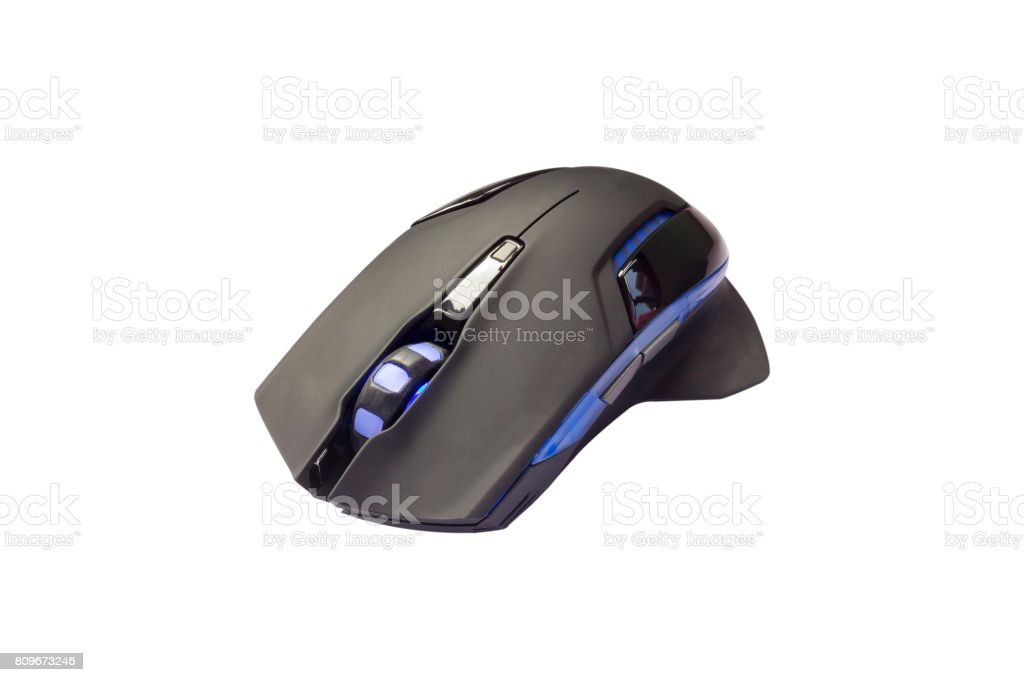 High quality professional blue light laser mouse for gamers or graphics isolated on white background. stock photo
