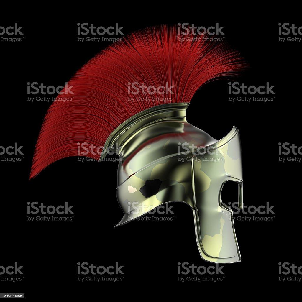 high quality spartan helmet, Greek roman warrior Gladiator, legionnaire heroic stock photo