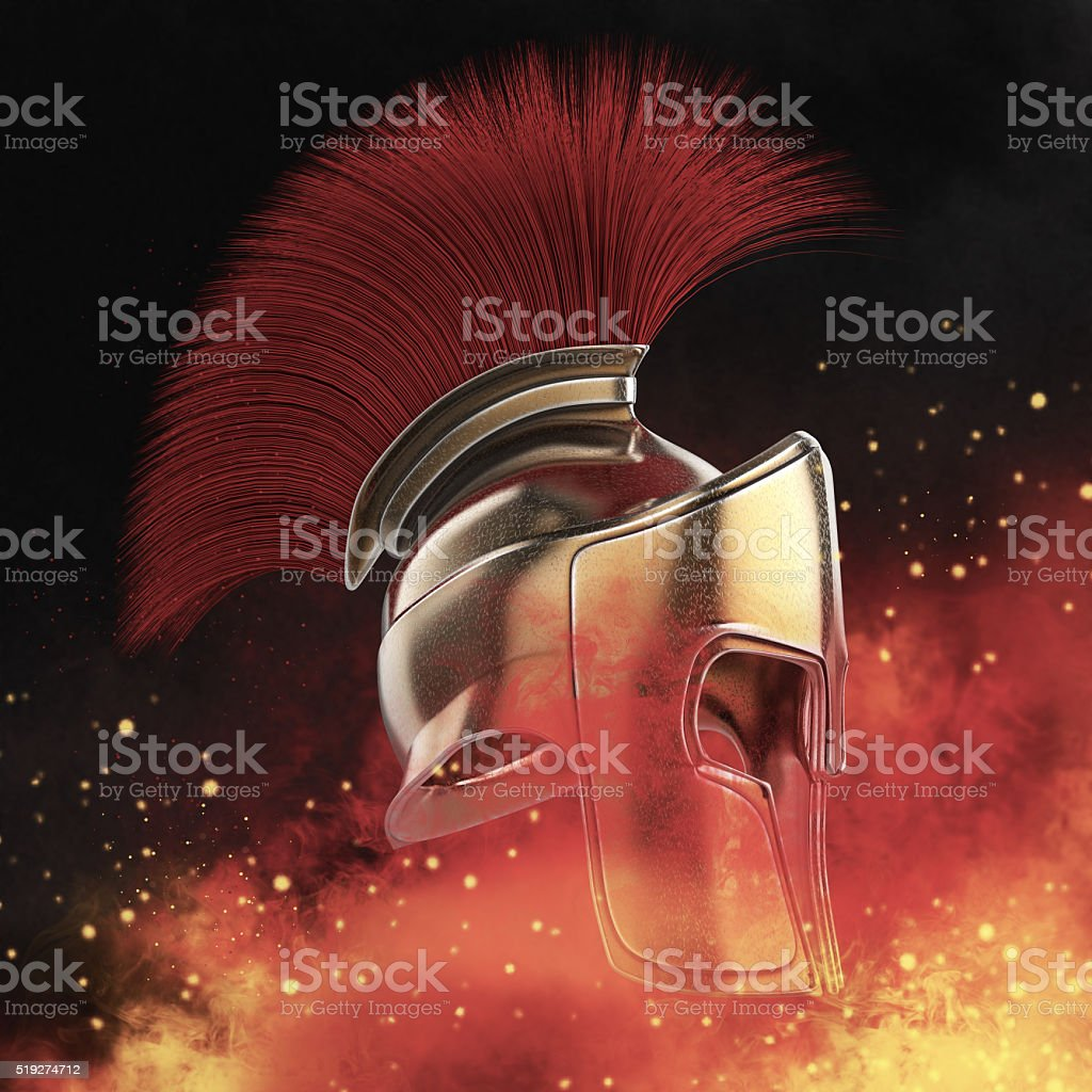 high quality spartan helmet, Greek roman warrior Gladiator, legionnaire heroic stock photo
