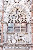 """High relief at """"Porta della Carta"""". Doge's Palace. Venice."""