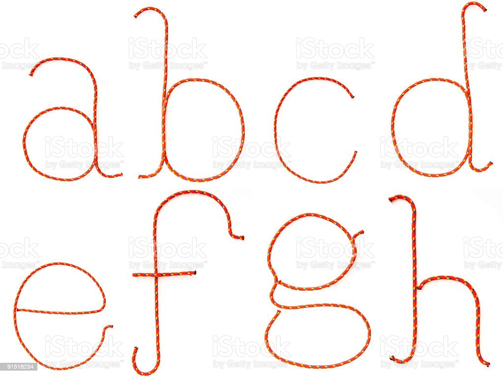 High Res Alphabet (Lower Case a-h) stock photo