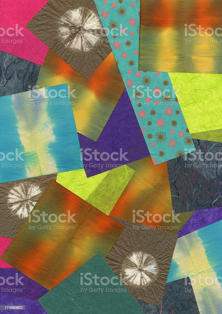 High res colorful tie dye paper sample collage background royalty-free stock photo