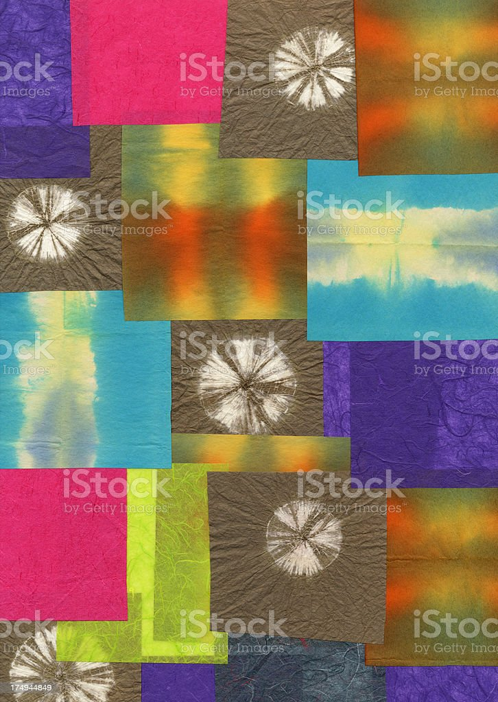 High res colorful tie dye paper samples collage background stock photo
