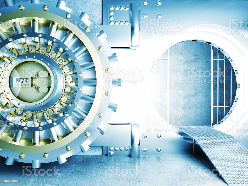 High res photo of a vault with door open stock photo