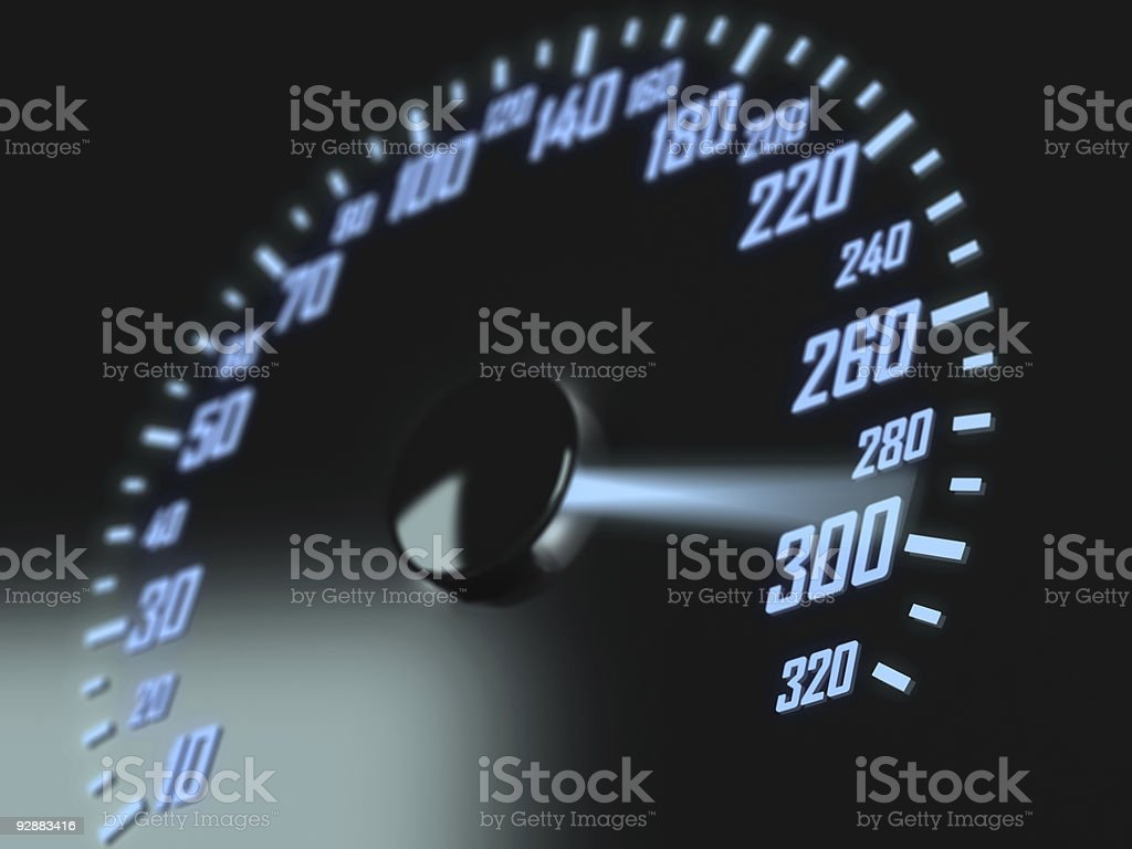 A high res picture of a speedometer with blue lighting royalty-free stock photo