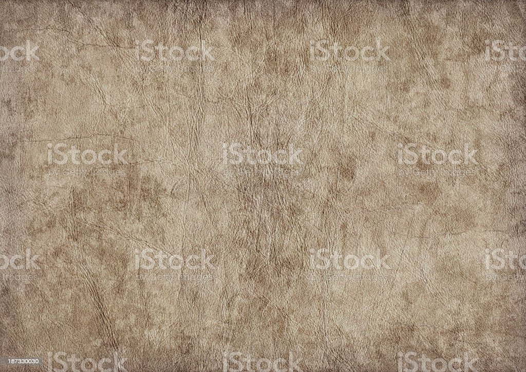 High Resolution Animal Skin Parchment Crumpled Mottled Vignette Grunge Texture stock photo