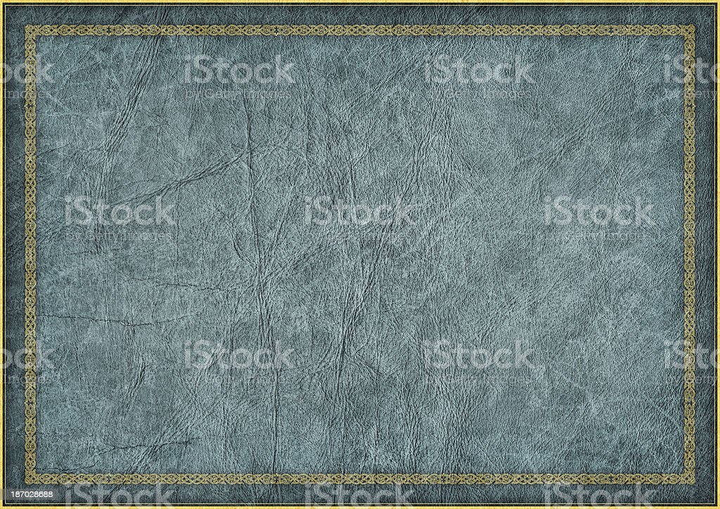 High Resolution Animal-skin Parchment with Medieval Arabesque Gilded Decorative Border royalty-free stock photo