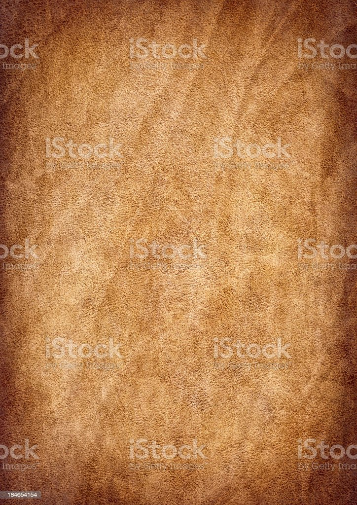 High Resolution Antique Animal Skin Parchment Wrinkled Vignette Grunge Texture stock photo
