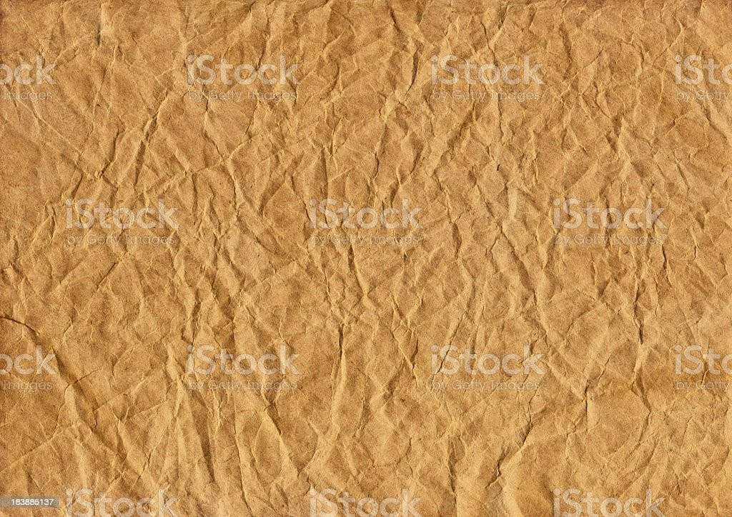 High Resolution Antique Brown Kraft Recycled Paper Crumpled Grunge Texture royalty-free stock photo