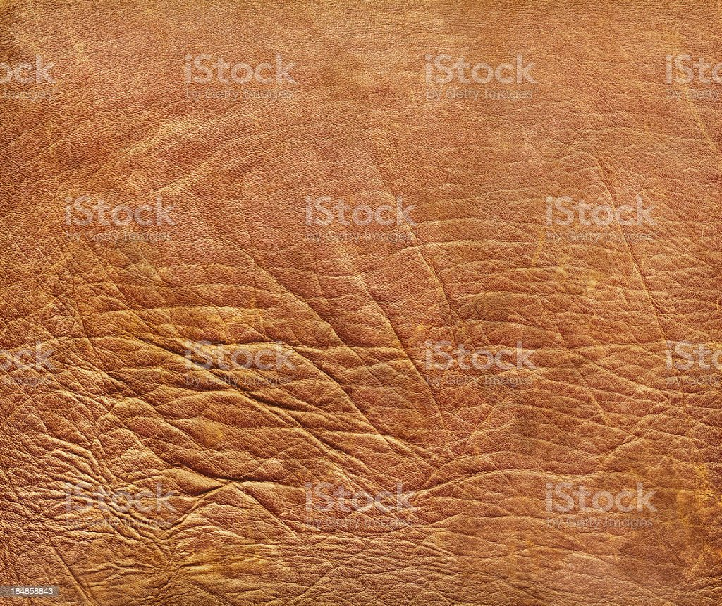 High Resolution Antique Brown Veal Leather Crumpled Wizened Grunge Texture royalty-free stock photo