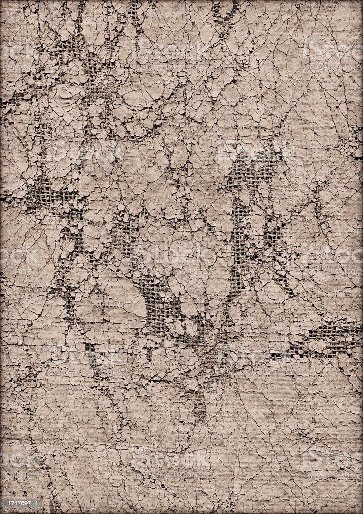 High Resolution Artist's Jute Canvas Beige Primed Crushed Grunge Texture stock photo