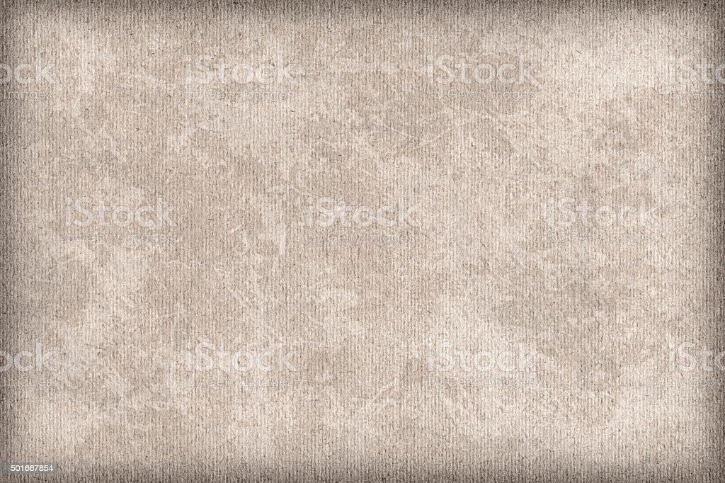 High Resolution Beige Striped Pastel Paper Mottled Vignette Grunge Texture stock photo