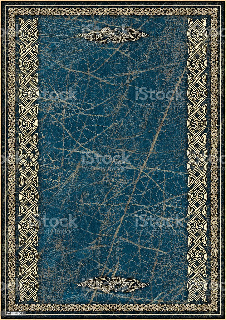 High Resolution Blue Animal-skin Parchment with Arabesque Gilded Decorative Pattern royalty-free stock photo