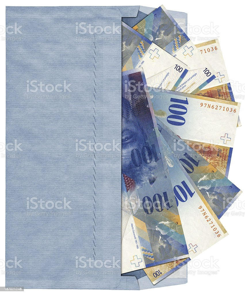 High Resolution Blue Commercial Envelope with 100 Swiss Franks Banknotes royalty-free stock photo