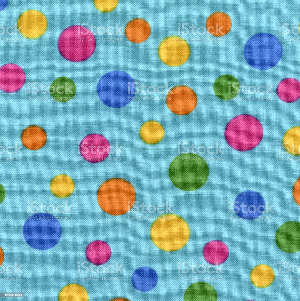 High Resolution Blue Fabric Colorful Polka Dots Texture and Background royalty-free stock photo