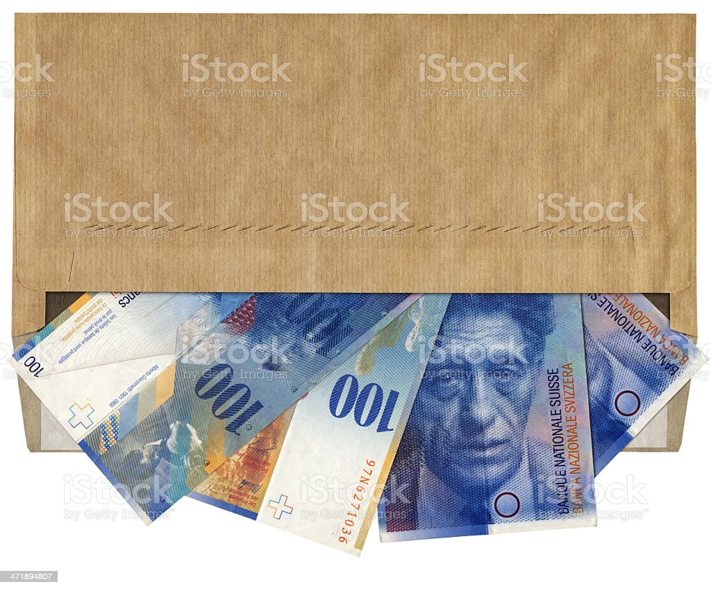 High Resolution Brown Commercial Envelope with 100 Swiss Franks Banknotes royalty-free stock photo