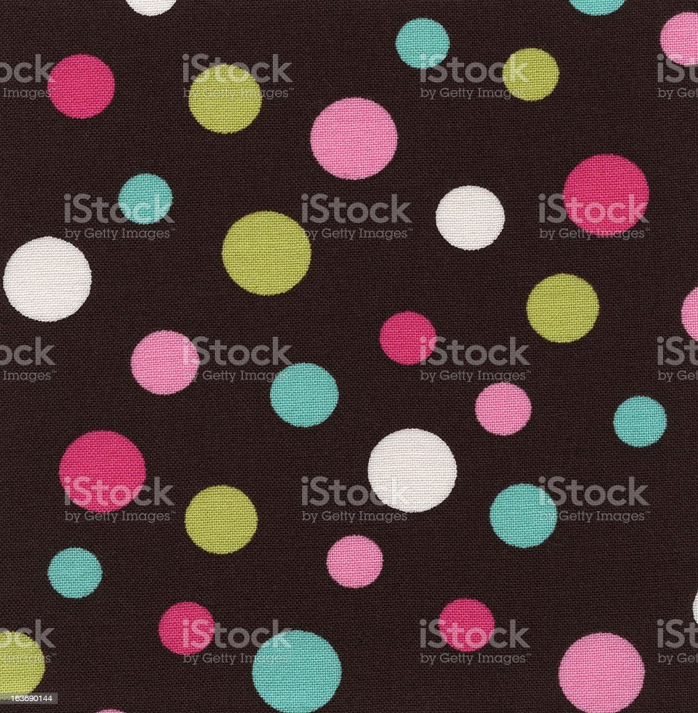 High Resolution Brown Fabric Colorful Polka Dots Texture and Backgrounds royalty-free stock photo