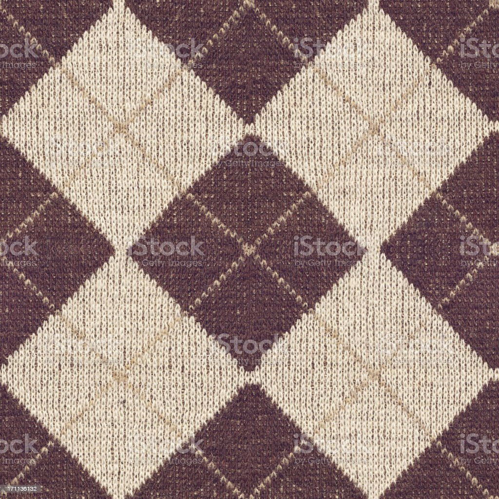 High Resolution Brown Knitted Fabric Argyle Seamless Rhomboid Pattern stock photo