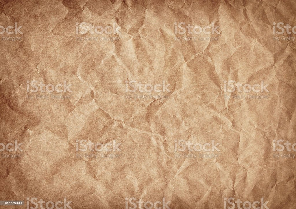 High Resolution Brown Kraft Paper Crushed Vignette Grunge Texture stock photo