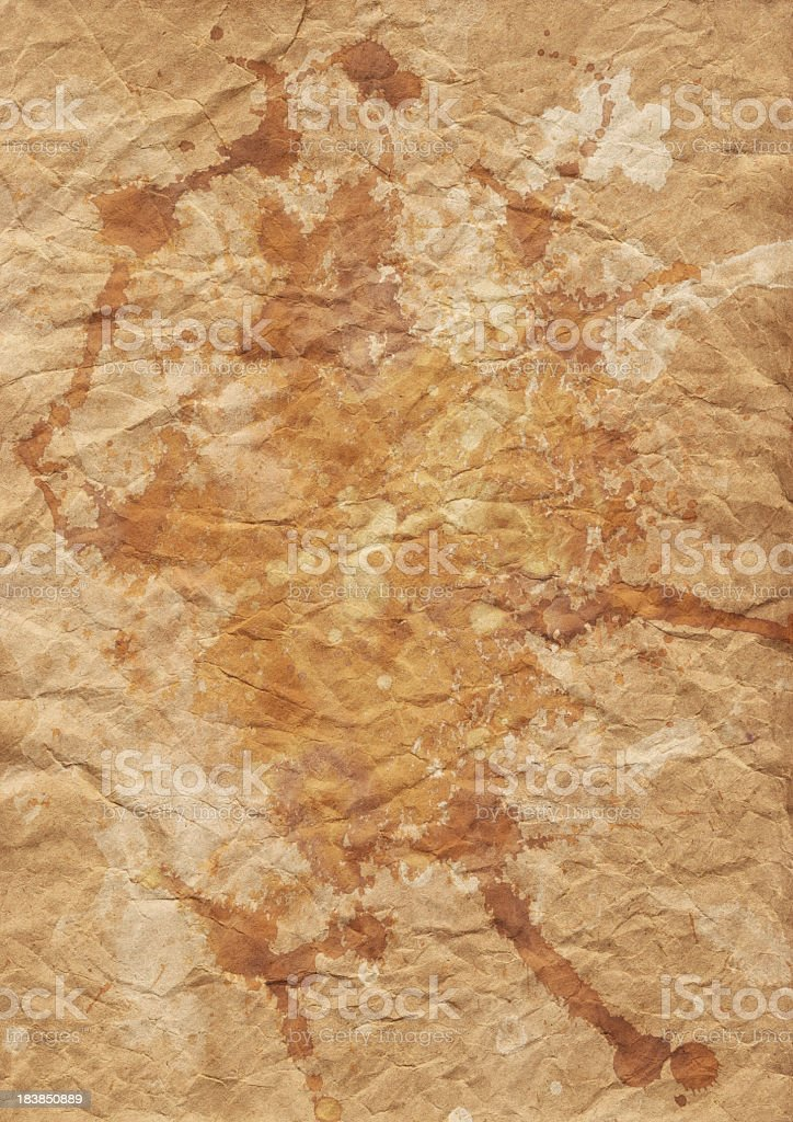 High Resolution Brown Kraft Recycled Paper Crumpled Mottled Grunge Texture royalty-free stock photo