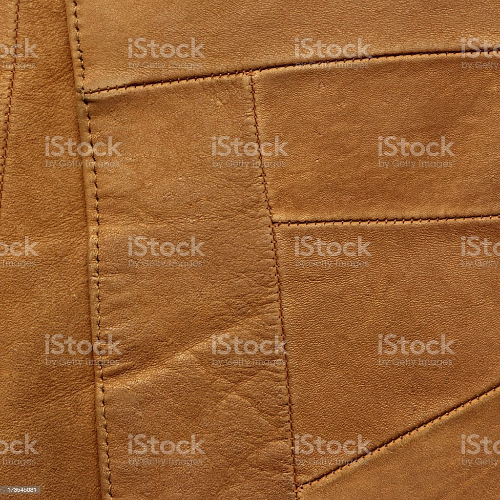 High Resolution Brown Leather Patchwork Texture Sample stock photo