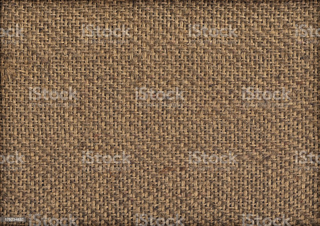 High Resolution Burlap Canvas Coarse Grain Vignette Grunge Texture stock photo