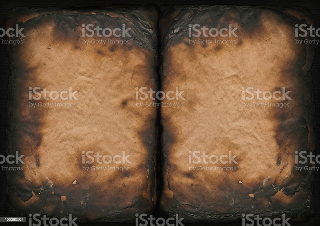 High Resolution Burnt Antique Book Paper Pages Vignette Grunge Texture stock photo