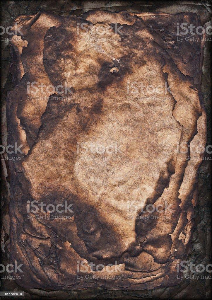 High Resolution Burnt Antique Paper Sheets Stack Vignette Grunge Texture stock photo