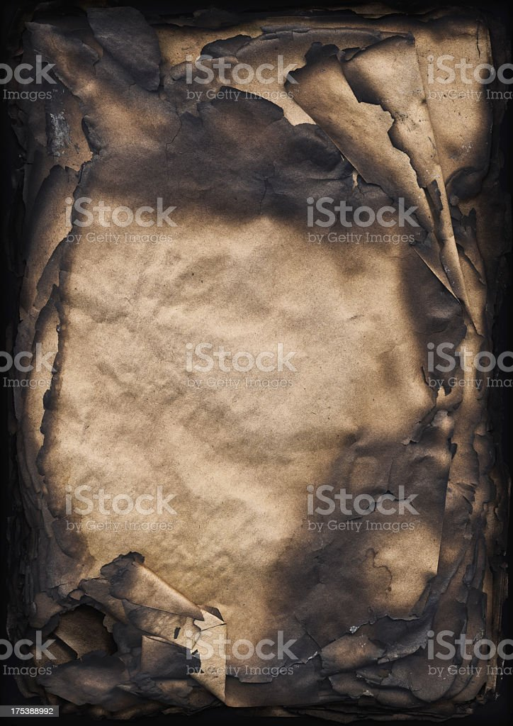 High Resolution Burnt Antique Paper Sheets Stack Vignette Grunge Texture royalty-free stock photo