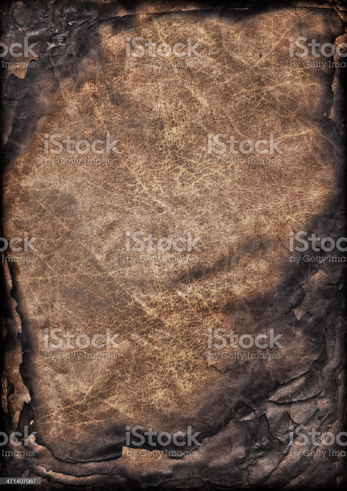 High Resolution Burnt Antique Parchment Sheets Stack Vignette Grunge Texture royalty-free stock photo