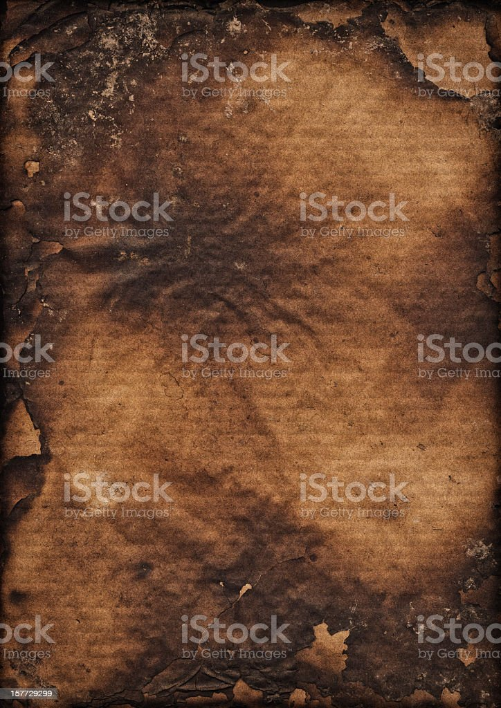 Hi-Res Brown Corrugated Cardboard Burnt Vignette Grunge Texture stock photo