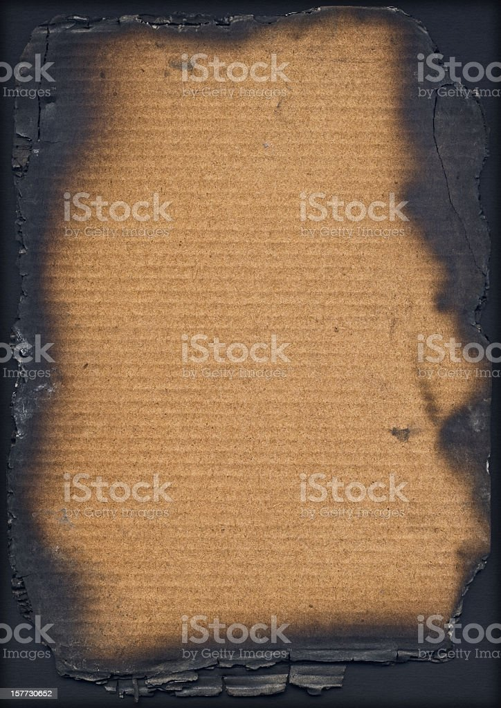 Antique Burnt Corrugated Cardboard High Resolution Vignette Grunge Texture stock photo