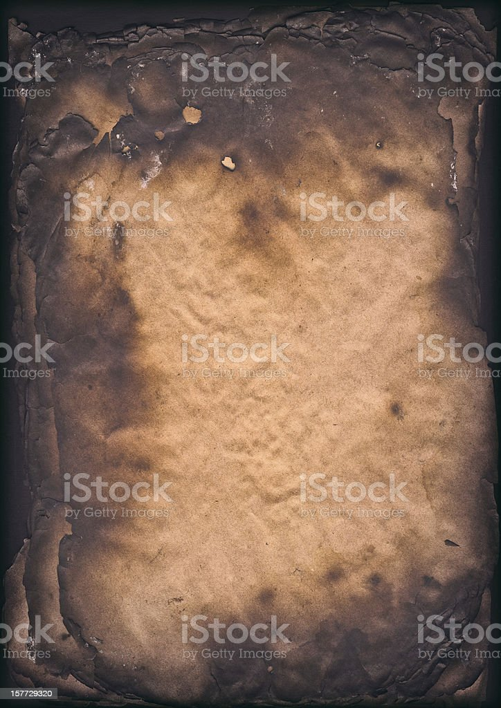 High Resolution Burnt Paper Sheets Vignette Grunge Texture stock photo