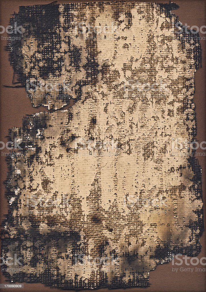 High Resolution Burnt Primed Burlap Canvas Grunge Texture royalty-free stock photo