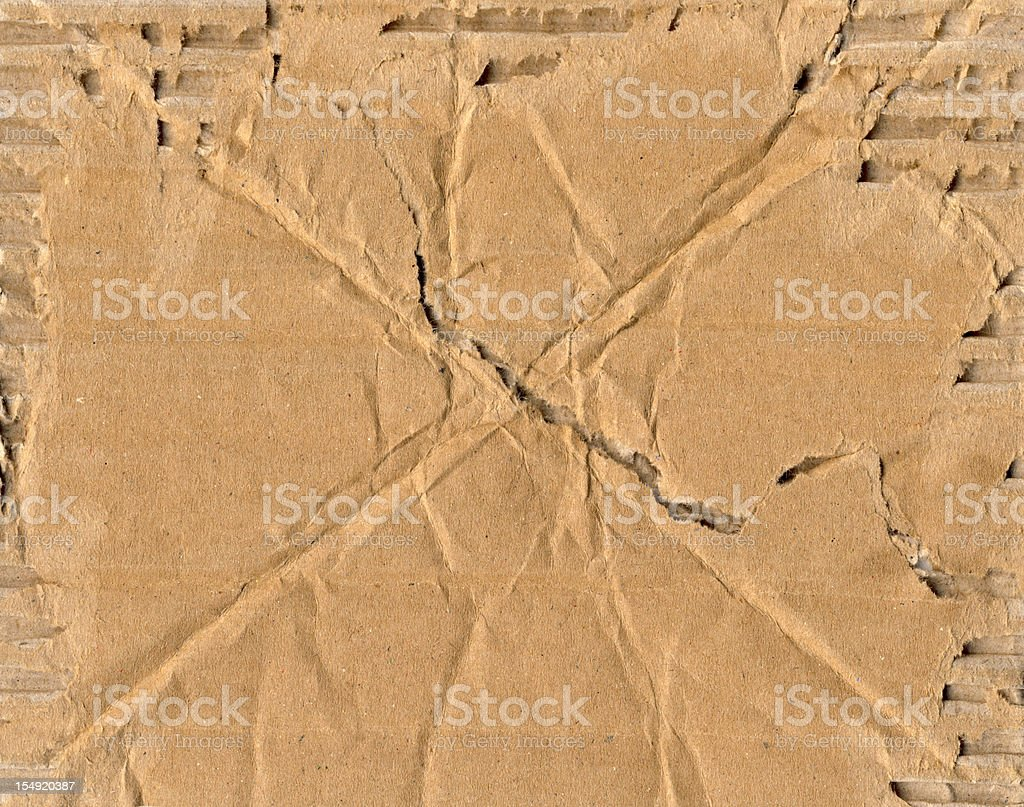 High Resolution Cardboard Corrugated Folded Torn Texture stock photo