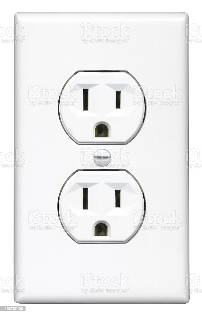 High Resolution Electrical Outlet, White stock photo