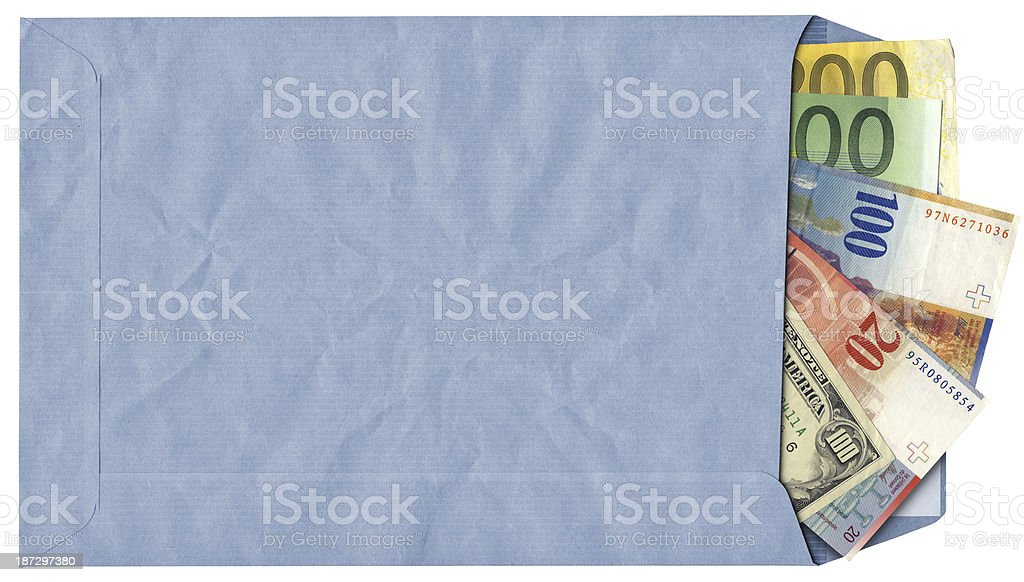 High Resolution Envelope with Swiss Franks Dollars and Euro Banknotes stock photo