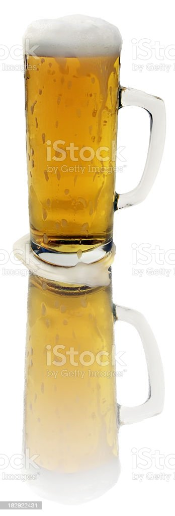 High Resolution Frosty Glass-mug of Cold Frothy Beer Isolated royalty-free stock photo