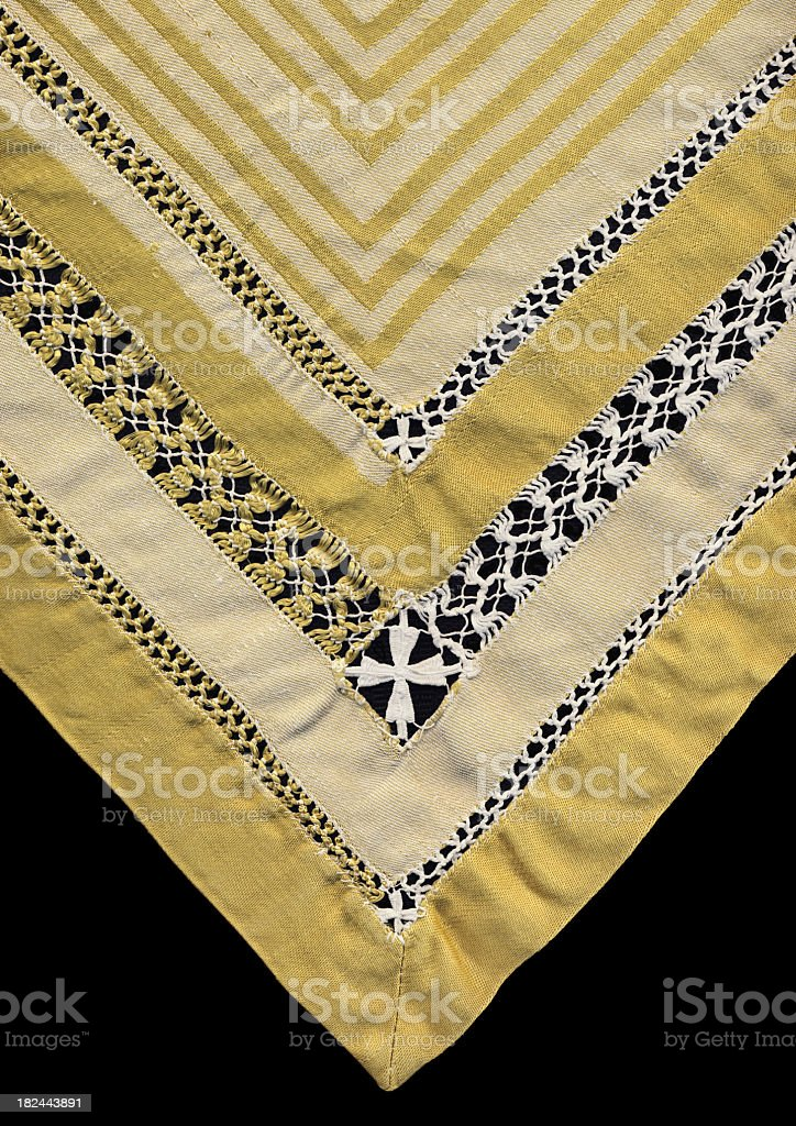 High Resolution Golden Linen Damask Isolated Table Cloth royalty-free stock photo