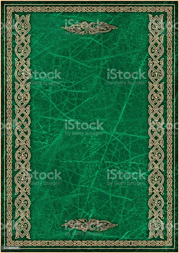 High Resolution Green Animal-skin Parchment with Arabesque Gilded Decorative Pattern royalty-free stock photo