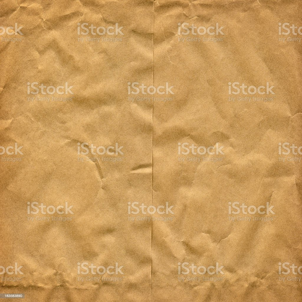 High Resolution Grocery Manila Paper Bag Crumpled Texture Detail royalty-free stock photo