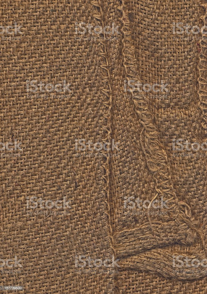 High Resolution Hemmed Folded Coarse Jute Canvas Grunge Texture royalty-free stock photo