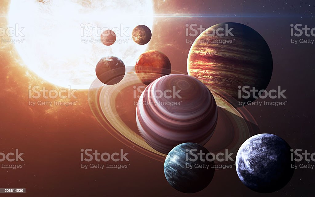 High resolution images presents planets of the solar system. This stock photo