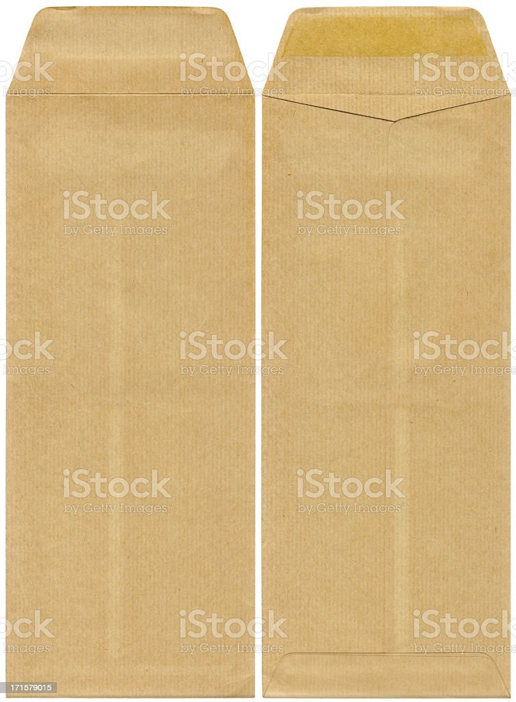 High Resolution Isolated Brown Paper Envelope Front And Rear Side stock photo