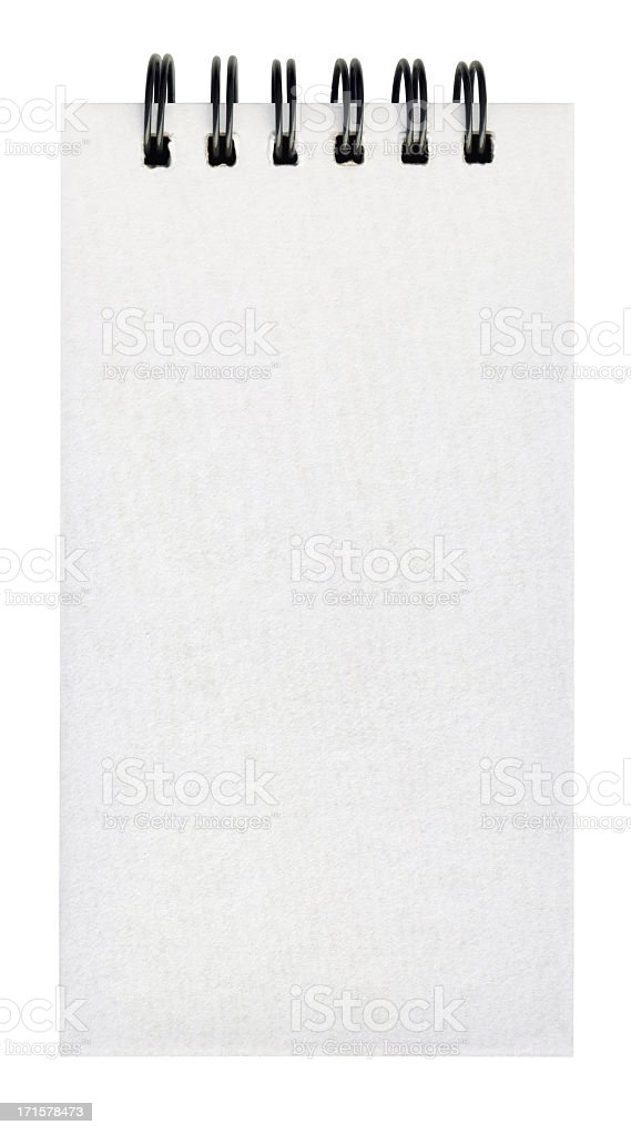 High Resolution Isolated Spiral Comb Binding Notebook Blank Page royalty-free stock photo