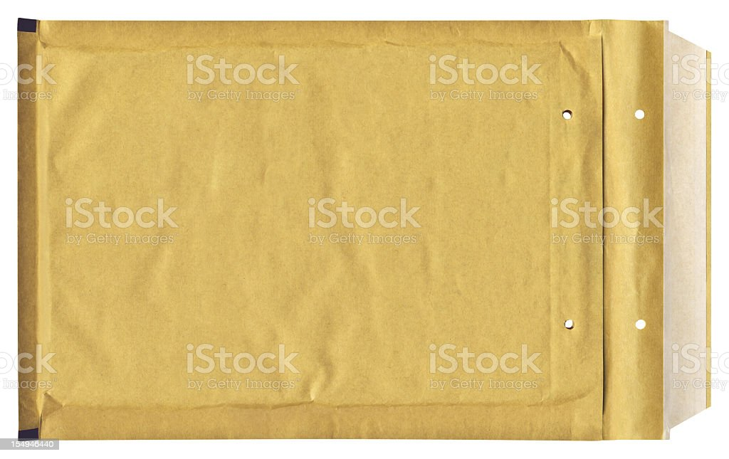 High Resolution Isolated Yellow Padded Envelope stock photo