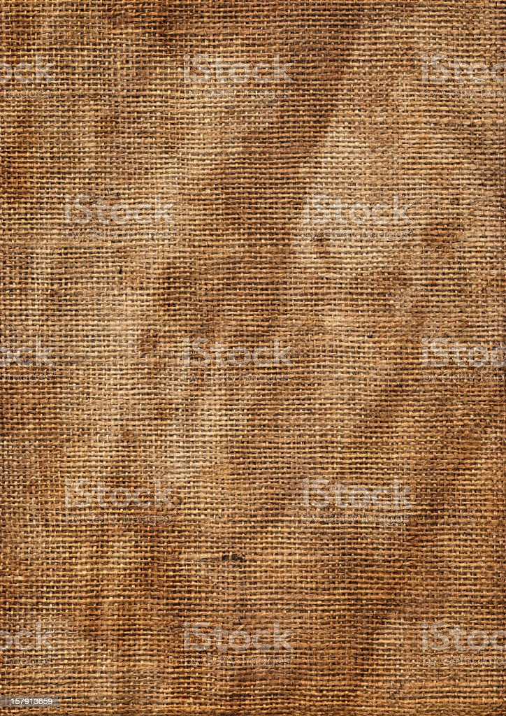 High Resolution Jute Canvas Coarse Grain Wrinkled Blotted Texture royalty-free stock photo